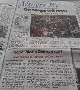 Artikel in Almere BV over startbijeenkomst Social Media Club Almere (SMC036).