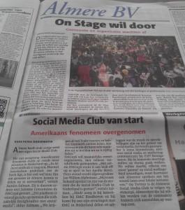 Artikel in Almere BV over startbijeenkomst Social Media Club Almere (SMC036).