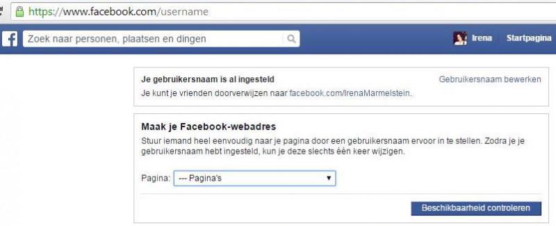 Facebook gebruikersnaam claimen