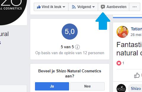 Facebook knop voor aanbevelingen