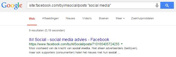 Geindexeerde Facebook content in Google met zoekwoord